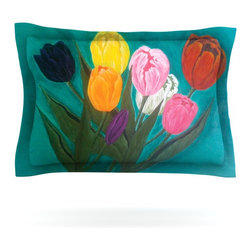 "Kess InHouse - Christen Treat ""Tulips"" Rainbow Flower Pillow Sham (Cotton, 30"" x 20"") - Pairing your already chic duvet cover with playful pillow shams is the perfect way to tie your bedroom together. There are endless possibilities to feed your artistic palette with these imaginative pillow shams. It will looks so elegant you won't want ruin the masterpiece you have created when you go to bed. Not only are these pillow shams nice to look at they are also made from a high quality cotton blend. They are so soft that they will elevate your sleep up to level that is beyond Cloud 9. We always print our goods with the highest quality printing process in order to maintain the integrity of the art that you are adeptly displaying. This means that you won't have to worry about your art fading or your sham loosing it's freshness."