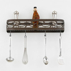 Hi-Lite MFG - Napa 24 in. Wall Rack in Tuscany Finish - Includes four pot rack hooks. Accessories not included. Made from steel. 24 in. L x 5 in. HHi-Lite achieved success through attention to detail and stubbornness to only manufacturer the highest quality product. Hi-Lite has built its reputation as a premier lighting manufacturer by using only the finest raw materials, inspirational designs, and unparalleled service. This allows us great flexibility with our designs as well as offering you the unique ability to have your custom designs brought to Light.