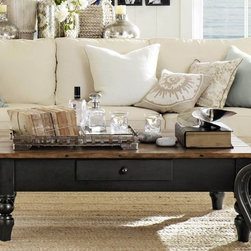 Keaton Coffee Table - I love the patina on the top of this great-looking vintage-style coffee table.