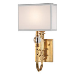 Robert Abbey - Ondine Brass Wall Sconce - Why just light when you can delight? Here, a lavishly detailed base adorned with a crystal orb is balanced by a simple silk shade. Formal, not fussy — a striking addition to your decor.