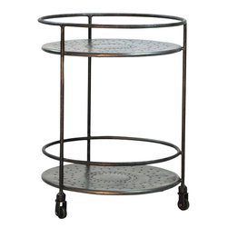 Round Metal Side Table with Shelf on Casters - Round Metal Side Table with Shelf