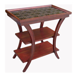 Ambella Home - Cambridge 3-Tier Accent Table - Rouge - The Cambridge collection features beautifully embossed panels inspired by English designs of the 18th and 19th centuries. Hand rubbed rouge finish. Two shelves.  Imported.