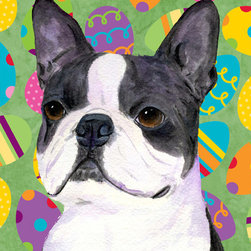 Caroline's Treasures - Boston Terrier Easter Eggtravaganza Flag Canvas House Size - Full size house flag is made from a 100% polyester heavy weight canvas material. Not your typical house flag that you might find from a mass merchant. These flags are only sold online and in specialty boutiques. This flag is much heavier than most flags currently being sold by other manufacturers. This flag is fade resistant and weather proof. The flag measures approximately 28 inches x 40 inches (wooden flag pole, hanging bracket or yard stand sold seperaletly)