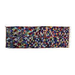 """Used Multi-Colored Moroccan Runner - This gorgeous 10' x 3'2"""" runner has all the colors of the rainbow! Hand-knotted Moroccan rug with low wool pile, it has an intricate display of Berber diamonds divided by horizontal and vertical bands. We'd love to see it paired with some Mid-Century Modern decor!"""