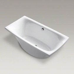 "KOHLER White Escale® 72"" X 36"" Freestanding Bath - Embrace a simple, modern look. This bath from the Escale collection is inspired by Japanese ceramic tableware, presenting a unique and contemporary design. With a 6-foot length and 36-inch width, the grandly scaled bath offers extra room for a spacious soak."