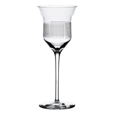 Bomma - Line Collection Crystal 8 oz Red Wine Glass,  Set of 2 - Set of 2 - Lines Collection Crystal 8 ounce Red Wine Glass celebrates uniqueness and simplicity in surprisingly minimalist style. It has strong visual performance when rotating all round and extraordinary feeling due to intersection of horizontal and vertical lines. The LINES pattern is designed by Olgoj Chorchoj Studio. It is manufactured manually and refined to perfection on state-of-the-art cutting robots.