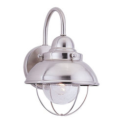 Seagull - Seagull Outdoor Sebring Outdoor Wall Mount Light Fixture in Brushed Stainless - Shown in picture: 8870-98 Single-Light Sebring Wall Lantern in Brushed Stainless finish with Clear Seeded'Glass