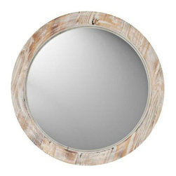 Round Washed Wood Wall Mirror - I really like a round mirror in a bathroom — it's a bit unexpected. I'm generally not a huge fan of medicine cabinets, so if you don't need the added storage, I say forgo it in lieu of something like this. The washed wood would be a great counterpoint to some white and modern fixtures.