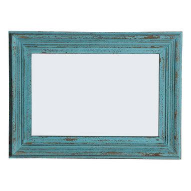 MORAN Rectangular Mango Wood Mirror, Blue Antique Finish, 2-way Hanging - Handcrafted Rectangular Mirror with Blue Antique Finish.
