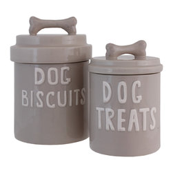 Selectives - Lassie Ceramic Lidded Canisters, Set of 2 - Charming dog bone treat canister set is great for your pet and for your decor.