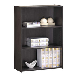 Adarn Inc. - Espresso Wooden Adjustable Storage Shelves Open Bookcase Bookshelf Display Shelf - This cute modern office collection will be a unique statement in your home. Whether your design sensibility is more artsy and contemporary or more comfortable and casual, this office collection can reflect your personal style. The collection is constructed with bold geometric shapes and straight lines, and the swiveling office chair is trimmed with a complementing cream colored upholstery. Added features include desk storage drawers, office chair casters for mobility, and a leather-like inlay on the desk top work surface.