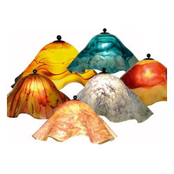 Mathews & Company - Large Glass Lamp Shade - Our Traditional style Large Glass Lamp Shade is a beautiful piece of hand-crafted accent for any lamp base. The glass is hand blown from recycled glass.