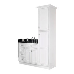 "JSI - JSI Danbury White Bathroom 36""W Vanity Base 3 LH Drawers & 18""W Linen Closet - PLEASE NOTE:  Listing is for vanity cabinet and linen cabinet only - Faucet, top, and sink are not included."