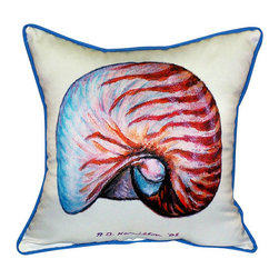 Betsy Drake - Betsy Drake Nautilus Shell Pillow- Indoor/Outdoor - Nautilus Shell Pillow- Large indoor/outdoor pillow. These versatile pillows are equal at enhancing your homes seaside decor and adding coastal charm to an outdoor setting arrangment. They feature printed outdoor, fade resistant fabric for years of wear and enjoyment. Solid back, polyfill. Proudly made in the USA.