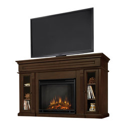 Real Flame - Real Flame Lannon Freestanding Electric Fireplace in Espresso Finish - Real Flame - Electric Fireplaces - 3300- Enjoy the beauty of a Real Flame Fireplace, this unique freestanding Fireplace also doubles as an entertainment center. Features include a center panel that flips down to reveal a hidden compartment that houses media components and glass doors on each side open to reveal additional storage. Available in Espresso or Dark Walnut. The Vivid Flame Electric Firebox plugs into any standard outlet for convenient set up. The features include, remote control, programmable thermostat, timer function, brightness settings and ultra bright Vivid Flame LED technology.