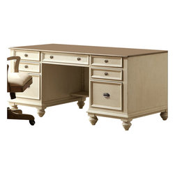 Riverside Furniture - Riverside Furniture Coventry Two Tone Executive Desk in Dover White - Riverside Furniture - Executive Desks - 32535 - Riverside's products are designed and constructed for use in the home and are generally not intended for rental, commercial, institutional or other applications not considered to be household usage.
