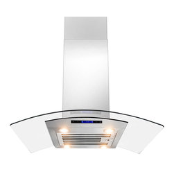 """AKDY - AKDY AK-ZD01R-IS European Stainless Steel Island Mount Range Hood, 36"""", Duct/Pip - The strength and durability of stainless steel meets the elegance of professional European design in this island mounted range hood from AKDY. This centerpiece includes an ultra quiet 870 CFM centrifugal blower, telescopic chimney that fits ceilings measuring between 8 and 9 feet, four-speed electronic touch sensitive controls with display, and a dishwasher friendly stainless steel baffle filter. With the delayed auto shut off, four 35w halogen lights, an optional ductless feature, and you'll discover an ease of use you'll quickly fall in love with. Highly stylish, professional functionality, and a cost you can afford. AKDY once again delivers on its promise of excellence."""