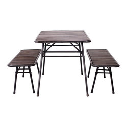 Vernon Table and Bench Set - Everyday's a picnic with this lighthearted table and bench set. The tops are crafted of mango wood slats washed in a dark stain, while the bases are made from black tubular steel.