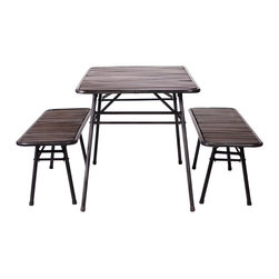 Vernon Table & Bench Set - Everyday's a picnic with this lighthearted table and bench set. The tops are crafted of mango wood slats washed in a dark stain, while the bases are made from black tubular steel.