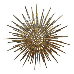 Pre-owned Mid-Century Brutalist Sunburst Sculpture - This wall accent is brutally fabulous. A Mid-Century metal sunburst sculpture in the Brutalist style. This C Jere era sculpture has a striking visual presence. It would look great on a wall, and perfectly compliment your Mid-Century or Danish Modern decor.