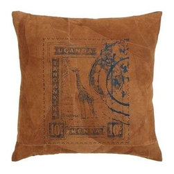 "Benzara - Decorative Designer Real Leather Pillow with Post Stamp Print - Decorative Designer Real Leather Pillow with Post Stamp Print. Enhance the aesthetics of your room without an effort with this exclusive real leather pillow. It comes with the following dimensions: 17 "" W x 17 "" D x 5 "" H."