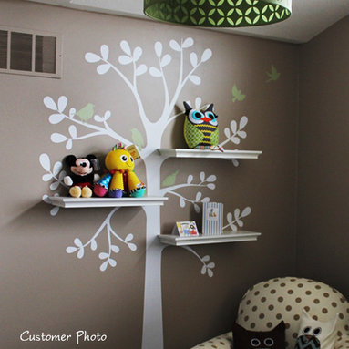 """Simple Shapes - Shelving Tree Wall Decal, Color Scheme A, Small - 51""""w X 88""""h - This is a tree decal that is created to work with standard 24"""" wall shelves that you can find at your local Target, Walmart, Ikea etc.. (shelving NOT INCLUDED) There are three locations where you can fit the shelves. This tree looks great on its own as well!"""