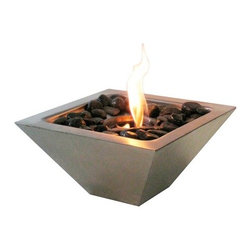 Anywhere Fireplace - Empire Bio Ethanol Fireplace - This contemporary and unique stainless steel tabletop fireplace makes a cozy, but dramatic statement anywhere you choose to put it: your den, patio or deck - indoors or out. It's lightweight and easily movable with no permanent installation so you can move it from room to room, inside to outside and back again. The top is slightly recessed to make room for the polished stones (included) to add a decorative touch around the dancing flames; or you can choose to use shells, sea glass, or marbles (not included) or anything else that you may fancy. A long handled stainless steel fire snuffer is included to extinguish the flame. This fireplace uses ONLY 13 oz Gel Fuel Cans for Fireplaces. These fuels are safe for indoor use and put off no harmful toxins into the air. Please be sure to not confuse with the bio-ethanol fuel and other fuels sold for cars and other non-fireplace applications.