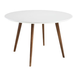 Modway - Modway EEI-1064 Canvas Dining Table in White - Food and art have long shared common experiences. In a restaurant, the artwork assists the ambiance. But for a chef, it is always the food that informs the surroundings. Some of the most well-known personalities today are vested with the task of arranging ordinary edibles, into extraordinary glimpses into a craft where each masterpiece lasts but only a few minutes. With its easel like solid ash wood legs, and coated fiberboard round top, Canvas extends the role of the premier chef and food stylist down to even the most quickly prepared entrees.