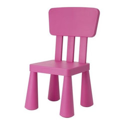 Mammut Children's Chair, Dark Pink - This chair goes with the Mammut table from Ikea, but you can have this chair on hand for parties. It comes in blue, green and dark pink.