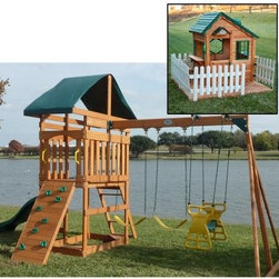 Swing Town Phoenix Swing Set with Mayfield Cottage Playhouse Set - The Phoenix Swingset with Mayfield Cottage Playset is full of activities to keep the kids playing all day so they'll sleep hard all night (and that's really the point, isn't it?). This combo will fill your backyard with fun and neighborhood kids, too. The swingset is crafted of premium cedar, the framing is naturally resistant to rot, warping, and insects. It has a bright, playful, inviting finish, too. A covered tower deck can be accessed via the sturdy ladder or the rock climbing wall and the 8-foot wave slide makes the perfect quick getaway. There are two swings with protective, covered chains, and a two-person glider offers a great ride. Below the tower, a framed in area is perfect for use as a sandbox and there are even built-in seats in each corner. Finally, after a day of fun, the kids can take a well-deserved break at the built-in bench with table.Additional featuresRaised landing covered with durable canopyLadder to access landing - can also use the rock wallFraming underneath can be used as a sandboxBuilt-in corner seats around sandboxBench seat faces convenient table300 lb. overall weight limitThe Mayfield Cottage Playset is as sweet as can be and built with interactive play in mind. It sits on a patterned-layout wood floor and is surrounded by a charming white wood picket fence. It has a front and side deck for plenty of play space and a wide activity window with shelf. There's a second wide window on the deck side, also with a shelf and two wood seating stools. There's even a play phone for interactive fun. Kids accent the house through the Dutch door with wood accent roof, and you'll love the charm of the all-wood accent dormer. Sweet shutters complete the look of this darling play houseAbout Mid America Outdoor SupplyThe people of Mid America Outdoor Supply consists of outdoor enthusiasts with families who are constantly looking for ways to make outdoor experiences more exciting, especially for children. From BBQ grills to imaginative play sets for the kids, their goal is to give you and your loved ones a fun and relaxing way to spend quality time in the backyard. They strive to enhance the outdoor living experience and bring more fun to your family.