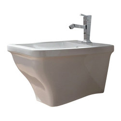 Scarabeo - White Ceramic Wall Mounted Round Bidet - Contemporary and modern round bidet made out of ceramic in a white finish.