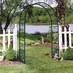 Austram Vintage 7.25-ft. Iron Arch Arbor - Arbors add a charming accent to a walkway provide a nice frame for a bench or create an entrance that welcomes guests to your garden. The Austram Vintage 7.25-ft. Iron Arch Arbor is constructed from powder-coated 3/8 inch steel for years of durable beauty. This elegant arbor will spruce up any walkway with its charming scrolled hearts and vines. The powder coated finish is applied with a zinc plating to give the finish extra rust resistance.