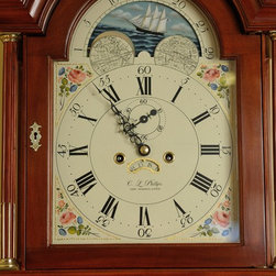 Roxbury Grandfather Clock - Roxbury / Willard style grandfather clock with painted face featuring the sailing ship the Ada J Simonton, an actual vessel working the New England coastal trade at the tail end of the 19th century.