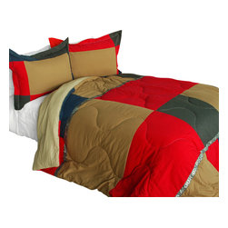 Blancho Bedding - Delicious Cake Quilted Patchwork Down Alternative Comforter Set-Twin - The [Delicious Cake] Patchwork Comforter Set (Twin Size) includes a quilted down alternative comforter and a sham. This luxury comforter set is handmade and some quilting may be slightly curved. The luxury handmade comforter set makes a stunning and warm gift for you and a loved one! For convenience, all bedding components are machine washable on cold in the gentle cycle and can be dried on low heat and will last for years. Elaborate vermicelli quilting provides a rich surface texture. This vermicelli-quilted comforter set will refresh your bedroom decor instantly, create a cozy and inviting atmosphere and is sure to transform the look of your bedroom or guest room. Enjoy a good night's sleep in this luxurious comforter set. (Dimensions: Twin comforter: 67.7 inches x 87.7 inches; Standard sham: 24 inches x 33.8 inches)