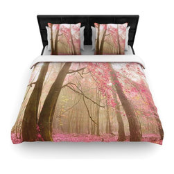 """Kess InHouse - Iris Lehnhardt """"Atmospheric Autumn"""" Pink Cotton Duvet Cover (Queen, 88"""" x 88"""") - Rest in comfort among this artistically inclined cotton blend duvet cover. This duvet cover is as light as a feather! You will be sure to be the envy of all of your guests with this aesthetically pleasing duvet. We highly recommend washing this as many times as you like as this material will not fade or lose comfort. Cotton blended, this duvet cover is not only beautiful and artistic but can be used year round with a duvet insert! Add our cotton shams to make your bed complete and looking stylish and artistic!"""