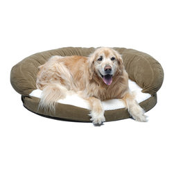 "Frontgate - Ortho Sleeper Bolster Pet Bed Dog Bed - Choose from sage, chocolate, caramel. 4"" of medical grade orthopedic foam relieves pressure on joints. Zippered cover removes easily for machine washing. 100% high loft polyester fill in bolster. Made with medical grade orthopedic foam, the Ortho Sleeper Bolster Bed is made for older pets that require extra support. The velvet microfiber bolster and plush Sherpa sleep surface add warmth and comfort.  .  .  .  . Made in the USA."