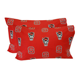 College Covers - NCAA North Carolina State Wolfpack Pillowcases Red Two-Pack - FEATURES: