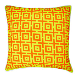 """NECTARmodern - And In Summation (tangerine) geometric throw pillow 20"""" x 20"""" - Bright grellow and tangerine orange front. Rolled white piping around the edge. Grellow back. Designer quality cover with overstuffed feather/down insert."""