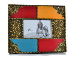 """Concepts Life - Concepts Life Photo Frame  Moorish Splendor  4x6"""" - At Concepts Life, we believe that a photo frame needs to match the splendor of the photo you put in it; look no further than this Moorish Splendor photo frame to highlight your cherished photograph in this exotic beauty of a frame.  Modern home accent Hand-painted 100% iron picture frame Easel back for horizontal and vertical display Beautifully hand-crafted; will have unique bends and asymmetries Dimensions: 11""""w x 9""""h x 1""""d Weight: 2 lbs Wipe clean Imported"""