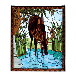 Meyda Tiffany - Meyda Tiffany Deer in River Window X-63927 - From the Deer in the River Collection, this Meyda Tiffany window features a single deer pausing to take a drink from a river. The beautiful blue tones of the river are complimented by spring green and rich brown hues. The deer itself features a deep, luxurious brown hue that draws the eye in and stands out against the bold nature tones.