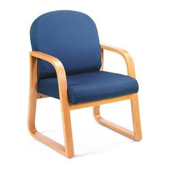 Boss Chairs Boss Oak Frame Side Chair in Blue Fabric