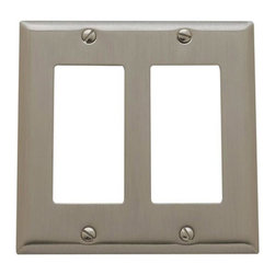 Baldwin Hardware - Beveled Edge 2 GFCI Wall Plate in Satin Nickel (4741.150.CD) - Feel the difference as Baldwin hardware is solid throughout, with a 60 year legacy of superior style and quality. Baldwin is the choice for an elegant and secure presence. Baldwin guarantees the beauty of our finishes and the performance of our craftsmanship for as long as you own your home.
