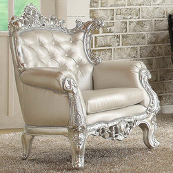 """Acme Furniture - Sanjay Accent Chair - Silver PU in Silver Frame and PU - Sanjay Accent Chair - Silver PU in Silver Frame and PU; Finish: Silver Frame & PU; Button in Back; Materials: Resin & Wood Frame, PU; Weight: 99 lbs; Dimensions: 30"""" x 31"""" x 43""""H"""