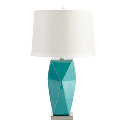 Cyan Design - Cyan Design Hoku Contemporary Table Lamp X-51250 - From the Hoku Collection comes this stylish Cyan Design contemporary table lamp. The body features an angular geometric-inspired design complimented by the bold Cyan Blue finish. This eye-catching design is complimented by a drum shade in a crisp white hue that pulls the look together.