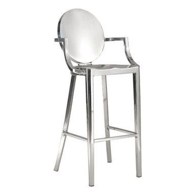 King Arm Stool - plywood seat on metal frame in nickel or black finish