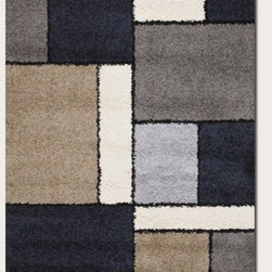 Couristan - Moonwalk Stonewall Rug - Experience out-of-this-world style, comfort and value with Couristan's Moonwalk Collection, a variety of shag area rugs designed to bring a plush sense of sophistication to today's casual contemporary interiors. Combining the traditional texture of a shag rug with a captivating array of visual prints, this creatively inspired collection showcases true personality and a unique design perspective ideal for decorators on the cutting edge of trends. Offering simple, serene motifs that range from an organic-inspired leaf pattern to a collage of structured geometric blocks, Moonwalk area rugs feature a fresh palette of modern neutrals like Navy, Grey, Cream, Chocolate and Black. Wilton woven of highly durable 100% Heat-Set Courtron polypropylene, the thick shag surface also features a hard-twisted yarn effect which adds a speckled texture to the pattern and helps to reduce tracking, shading and shedding. All of the outstanding benefits of the Moonwalk Collection - including the exquisitely detailed construction, the soft yet hard-wearing pile fiber and the distinctive style of each design are available at an incredible power-loomed price point that brings fashion to the forefront. Features: -Technique: Wilton woven.-Material: 100% Heat-Set Courtron Polypropylene Shag.-Origin: Belgium.-Face-to-face Wilton Woven.-Frieze Yarns Reduce Tracking and Shading.-Thick Surface Features Soothing Contemporary Motifs.-Construction: Machine made.-Primary Color: Dark Blue.-Secondary Colors: Ash, Ash Grey, Black, Sand & White.-Collection: Moonwalk.-Distressed: No.-Collection: Moonwalk.-Country of Manufacture: Belgium.Dimensions: -Pile height: 0.83''.-Overall Product Weight: 8-128lbs. About the Manufacturer: About Couristan For over 75 years Couristan, Inc. has been a powerful name in the area rug and broadloom industry. Owned by the Couri family for two generations and operated today by brothers George G. Couri, Chairman and Ron J. Couri, CEO and President, the company prides itself on having the most exquisite handmade and power-loomed floor coverings available from anywhere around the world. Founded in 1926 by brothers Basil J. Couri and George J. Couri, and appropriately named ''Couri Brothers,'' the company began its humble beginnings by importing fine handmade area rugs from Persia. According to Ron Couri, Couristan's CEO and President, importing area rugs from Persia was a difficult task. ''I remember listening to my father and uncle's travel stories. First they took a ship to England, then another to the continent. Once in Europe they took the Orient Express and then drove through the desert to Persia. They finally arrived 32 days later. It was quite an adventure.'' The first area rugs imported by the company were a few shipments of Sparta Rugs from Smyrna. At the time, the company began affixing ''Couristan'' trademark labels to the back of each and every rug it imported. This mark was composed from the family's surname ''Couri'' and the frequently used suffix ''stan'', referring to the region of small weaving villages in which the company imported its rugs from. The company would quickly begin to broaden its horizons, as well as its area rug offerings by importing rugs from India in 1927. In the 1930's, Couristan began importing handmade hooked rugs from China and braided rugs from Japan. At the time nearly 99 percent of the total production of Japan's floor coverings were being exported to the United States. According to Ron Couri, Couristan was regarded as one of the country's largest importers of Japanese braided rugs from the 1930's to the 1960's. During that time there wasn't much of a market for Oriental-design products in the United States, but through Couristan's ingenuity and extensive design development, the company was able to create a substantial