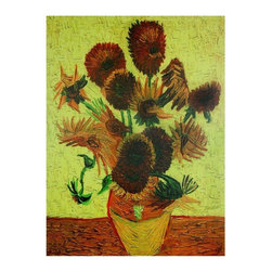 Oriental Furniture - Sunflowers Canvas Wall Art - Bright, bold, beautiful, this is one of Van Gogh's beautiful still life paintings of sunflowers. Some wonder if Mr. Van Gogh's mind processed color and light differently than the rest of us. This wonderful piece of low cost, fine quality wall decor provides warm colors and simple beauty to any room, home or office.