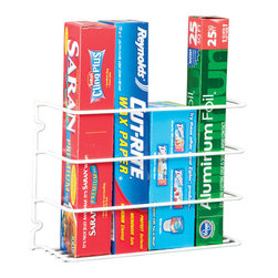 Grayline - Door/Wall Wrap Rack - Keep cabinets neatly organized with this strong steel wrap rack, made to hang on the back of cabinet doors or walls.   Wraps not included 8'' W x 11.8'' H x 3.8'' D Steel Imported