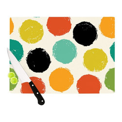 """Kess InHouse - Daisy Beatrice """"Retro Dots"""" Circles Cutting Board (11.5"""" x 15.75"""") - These sturdy tempered glass cutting boards will make everything you chop look like a Dutch painting. Perfect the art of cooking with your KESS InHouse unique art cutting board. Go for patterns or painted, either way this non-skid, dishwasher safe cutting board is perfect for preparing any artistic dinner or serving. Cut, chop, serve or frame, all of these unique cutting boards are gorgeous."""