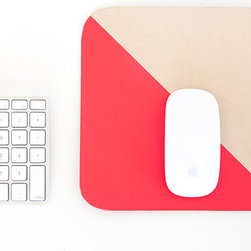 Leather Mouse Pad, Neon Red/Pink - Desk accessories are usually boring and sterile. The neon accent on this leather mouse pad makes it the perfect piece to spruce up your home studio or office.